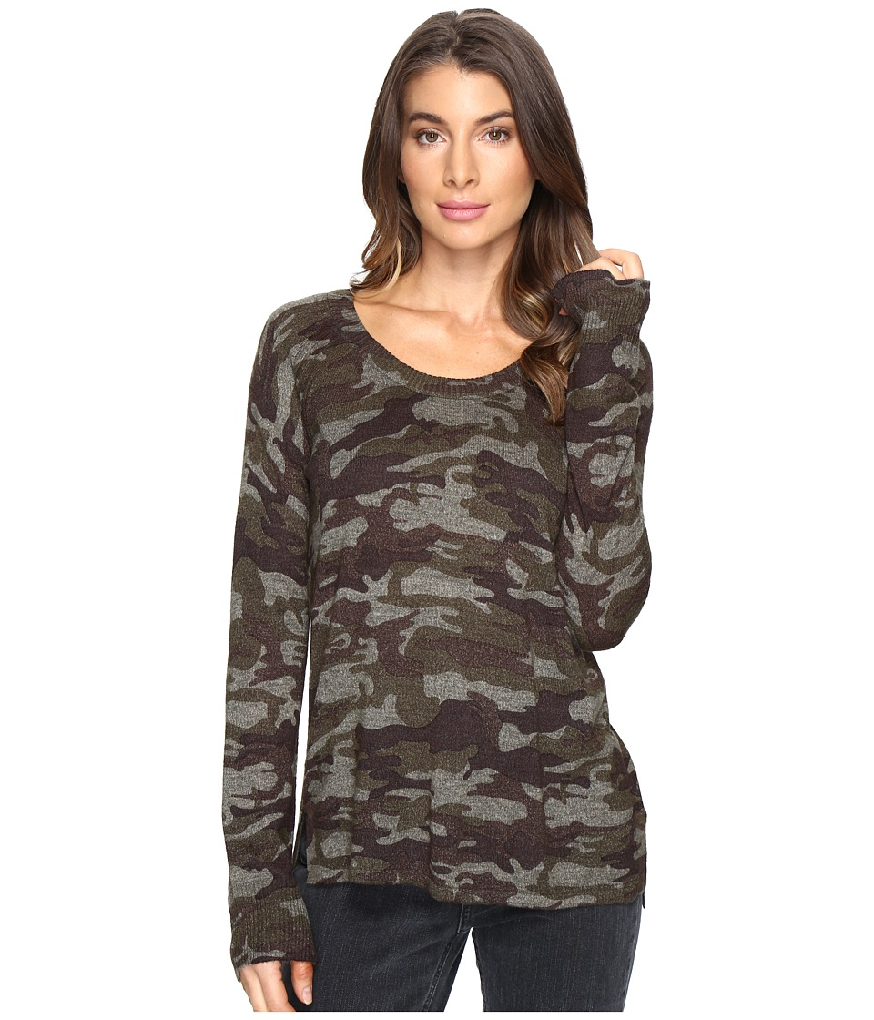 Sanctuary - Renee Printed Camo Crew Sweater (Heritage Camo) Women's Sweater