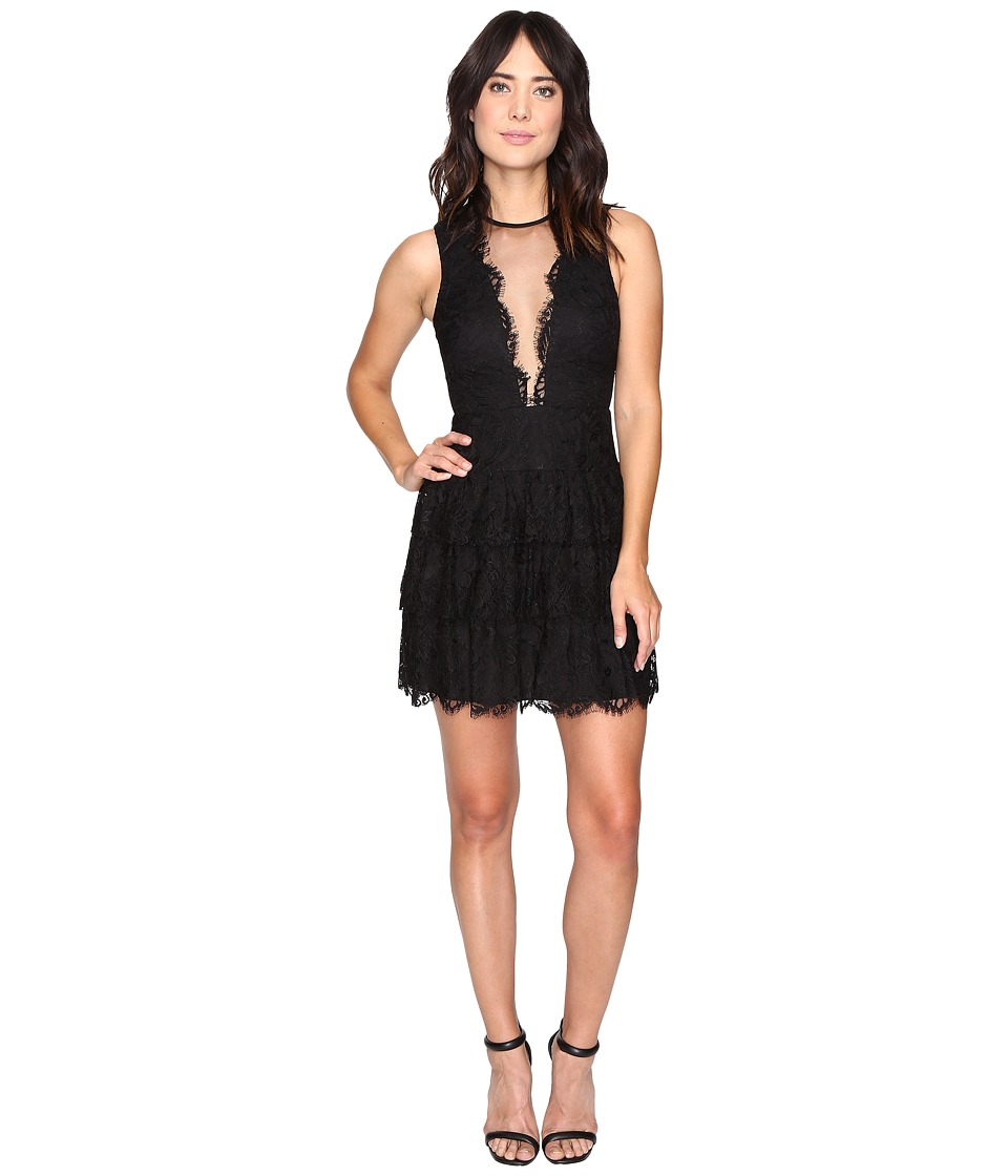 Nicole Miller Lizette Tiered Lace Party Dress (Black) Women