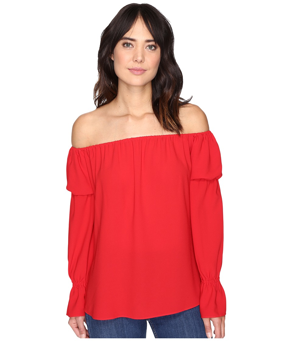 Nicole Miller - Off the Shoulder Poly Top (Red) Women's Clothing