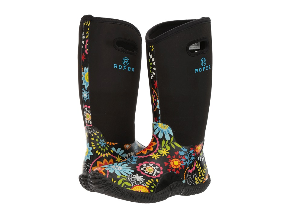 Roper - Flower Garden (Printed Floral Vamp/Black Neoprene Shaft) Cowboy Boots