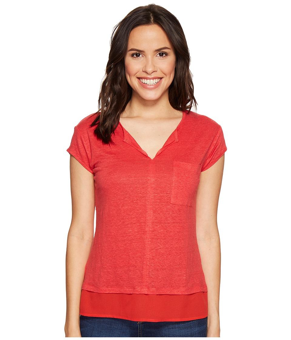 Sanctuary - City Mix Tee (Pomegranate) Women's Short Sleeve Pullover