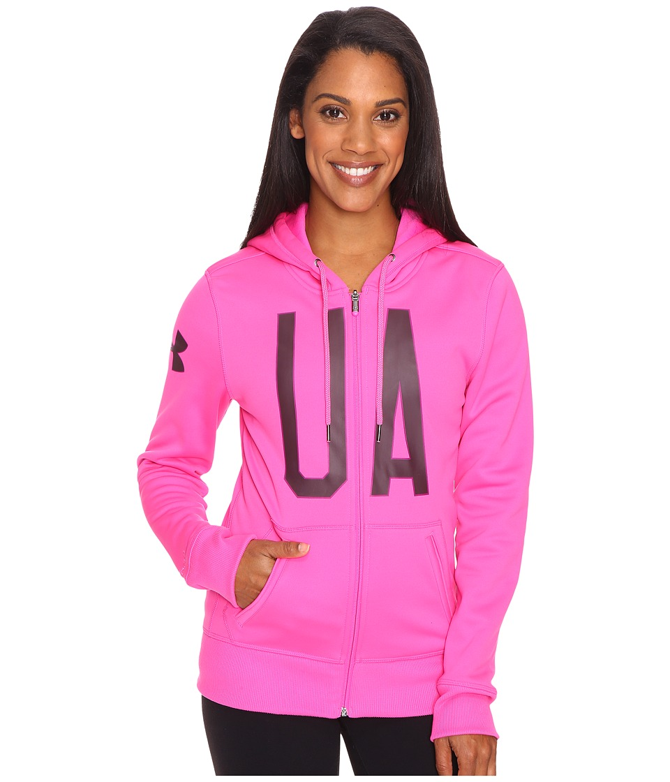 Under Armour - UA Armour Fleece Full Zip Graphic Hoodie (Rebel Pink/Ox Blood) Women's Sweatshirt
