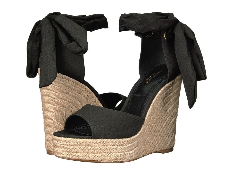 Michael Kors - Embry (Black Solid Crepe De Chine/Jute) Women's Wedge Shoes