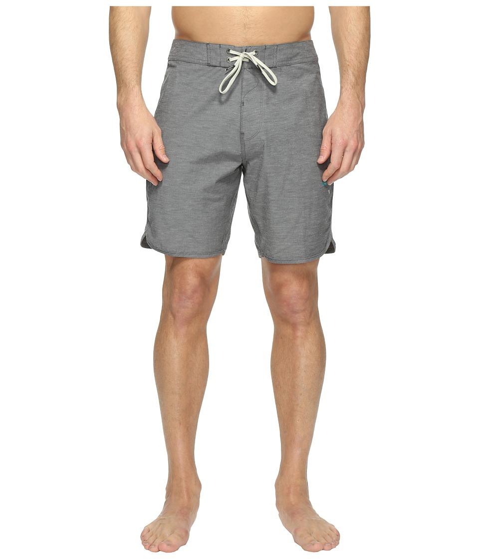 VISSLA - Boardertown Four-Way Stretch Heathered Boardshorts 18.5 (Black) Men's Swimwear