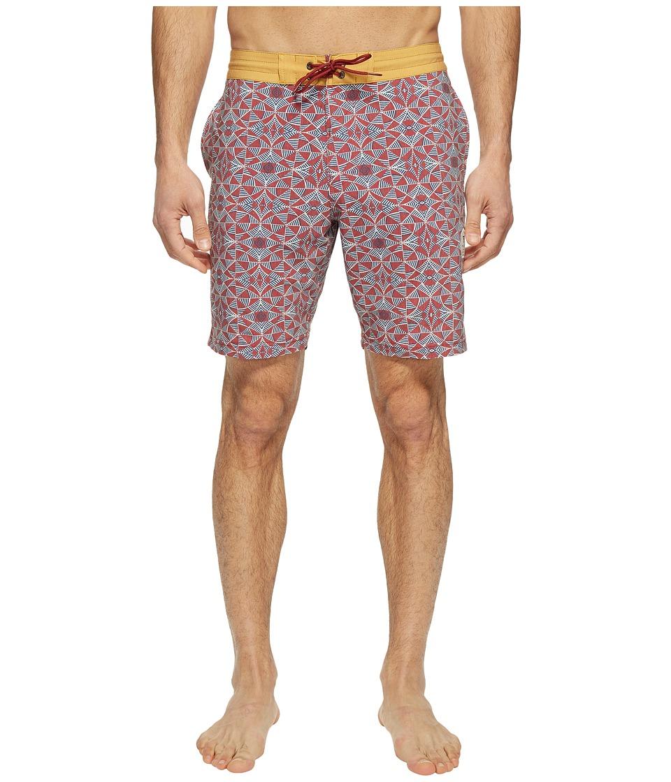 VISSLA - Trailer Bay Washed Four-Way Stretch Boardshorts 18.5 (Pomegranate Red) Men's Swimwear