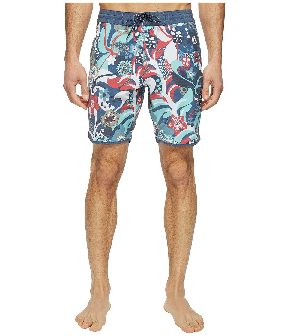 VISSLA Tide Riders Washed Four-Way Stretch Boardshorts 18.5 (Strong Blue) Men