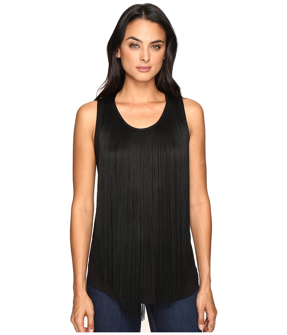 Three Dots - Fringe Top (Black) Women's Clothing