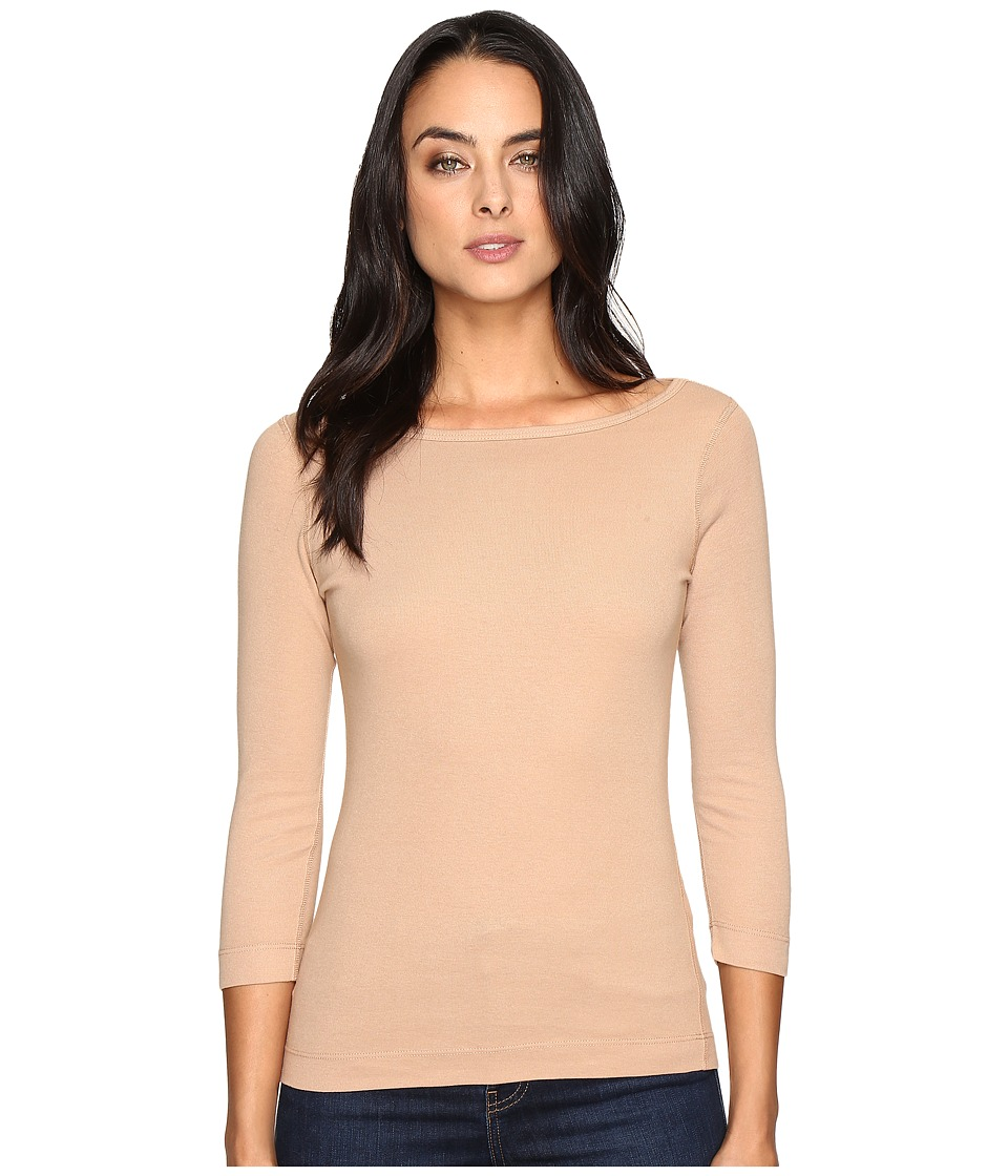 Three Dots 3/4 Sleeve British Tee (Arabian Camel) Women