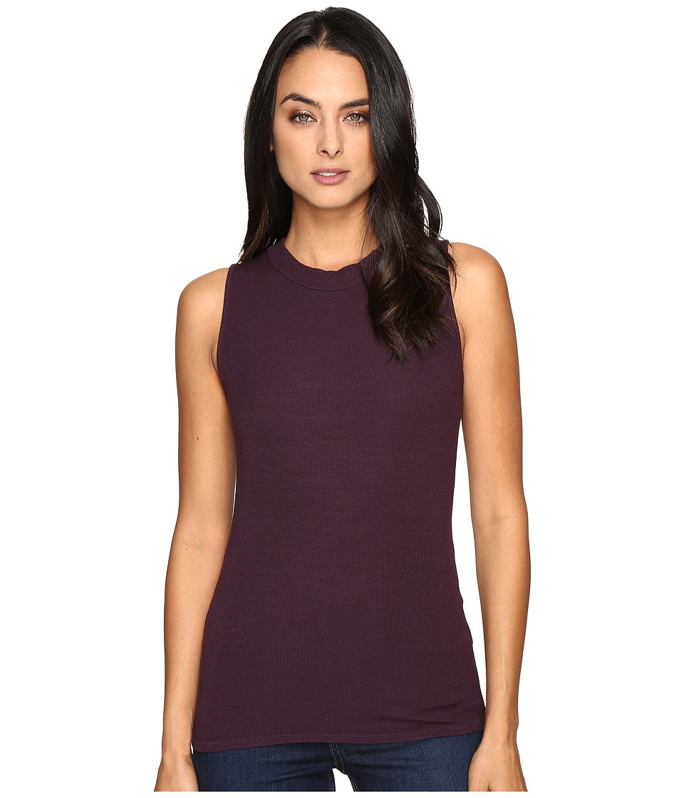 Three Dots - Krystine-Sleeveless Rib Tank Top (Perfect Plum) Women's Clothing
