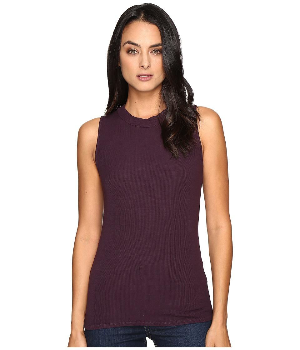 Three Dots - Krystine-Sleeveless Rib Tank Top (Perfect Plum) Women's Clothing