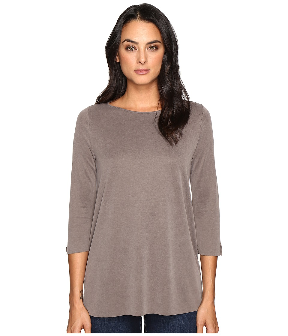 Three Dots - 3/4 Sleeve High-Low British Tee (Walnut) Women's Clothing