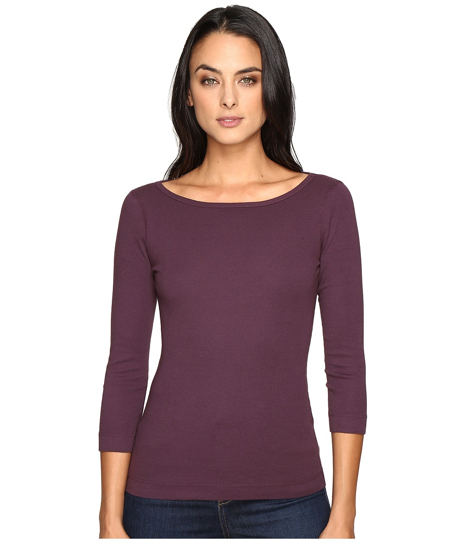Three Dots - 3/4 Sleeve British Tee (Perfect Plum) Women's Long Sleeve Pullover