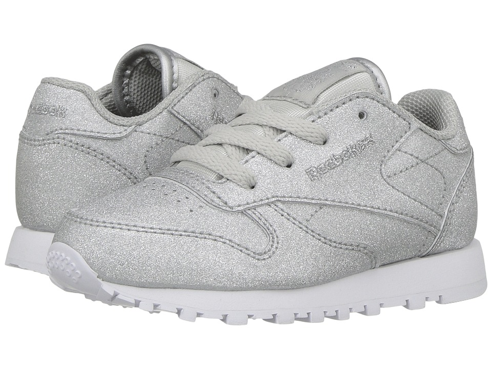 Reebok Kids - Classic Glitter (Toddler) (Diamond/Silver Metallic/Snow Grey White) Kids Shoes