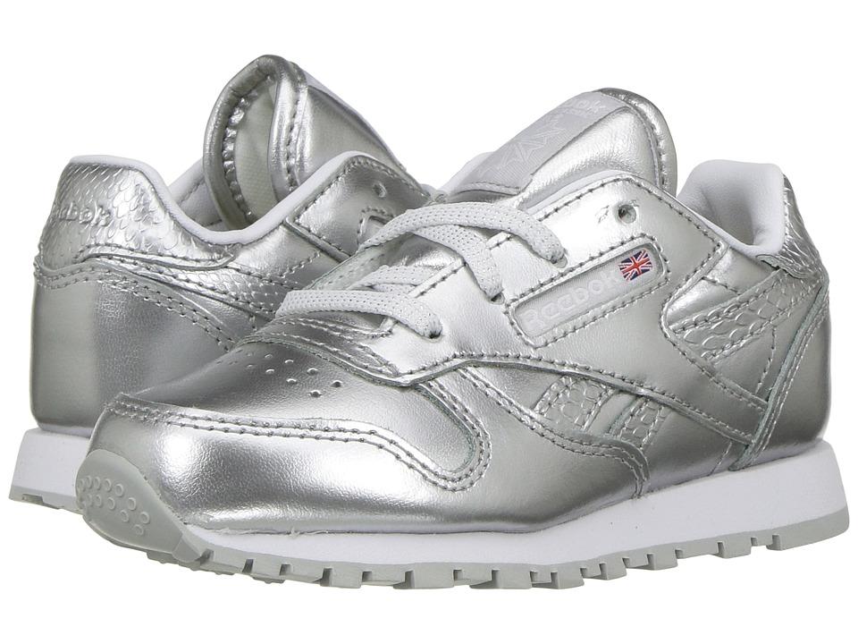 Reebok Kids - Classic Leather Metallic (Toddler) (Silver/White) Kids Shoes