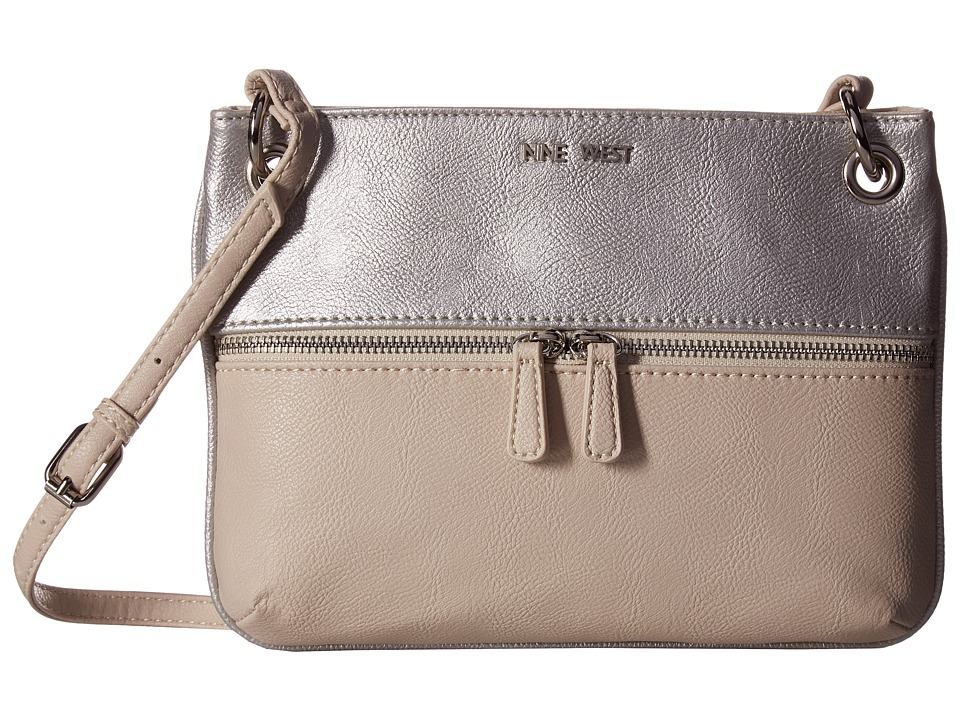 Nine West - Classic Zip Medium Crossbody (Silver/Natural) Handbags