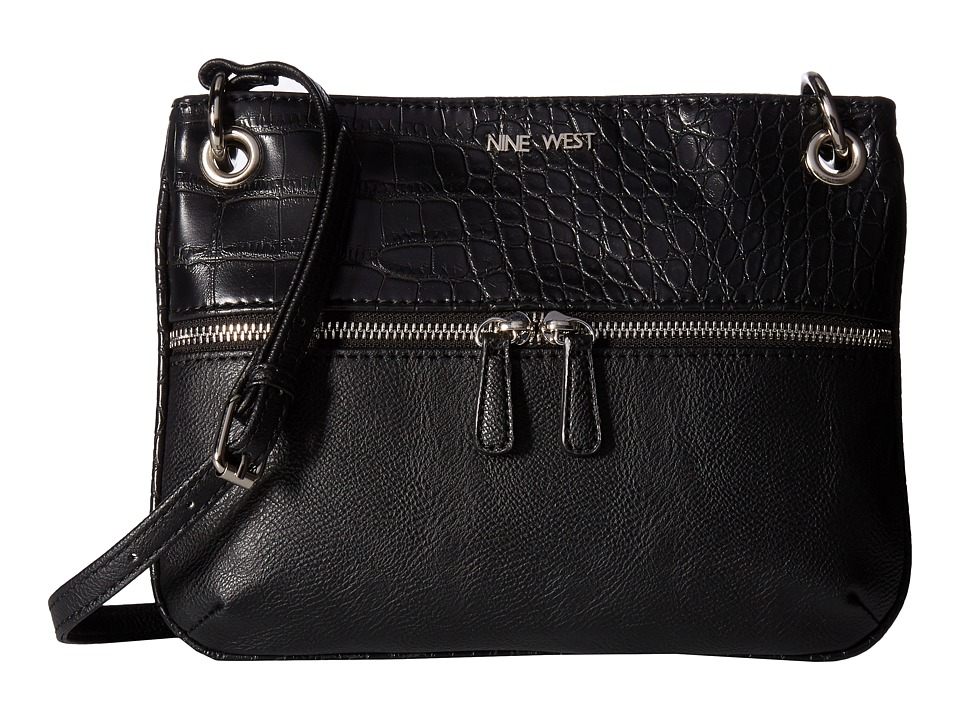 Nine West - Classic Zip Medium Crossbody (Black/Black) Handbags