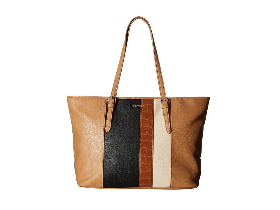 Nine West - Color Coding Large Tote (Dark Camel/Black/Toasted Oat/Tobacco) Handbags