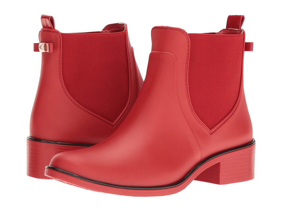 Kate Spade New York Sedgewick Red Matte Rubber Womens Pull-on Boots