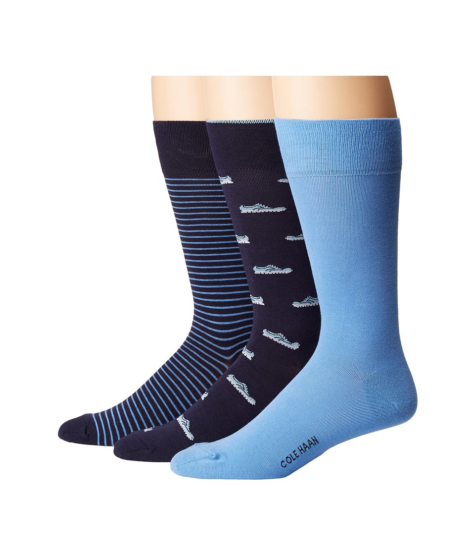 Cole Haan - 3-Pair ZeroGrand Shoe (Marine Blue/Skyway/Marine Blue) Men's Crew Cut Socks Shoes