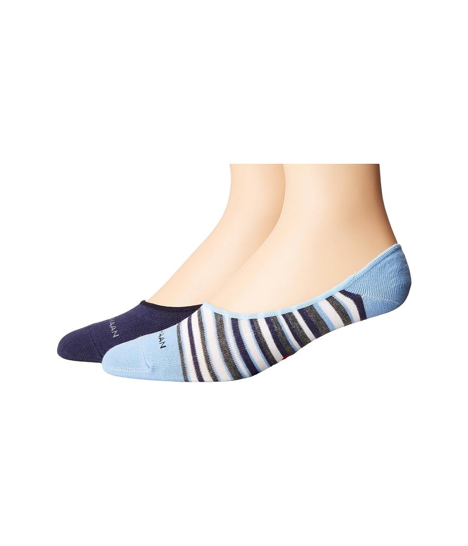 Cole Haan - 2-Pack Town Stripe Liner (Skyway/Marine Blue) Men's Crew Cut Socks Shoes