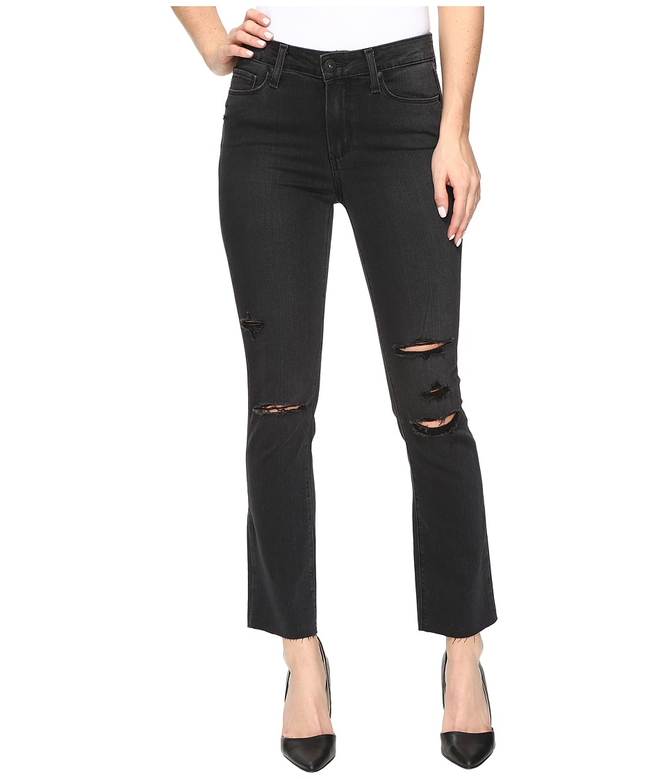 Paige - Jacqueline Straight w/ Raw Hem in Carbon Black Destructed (Carbon Black Destructed) Women's Jeans