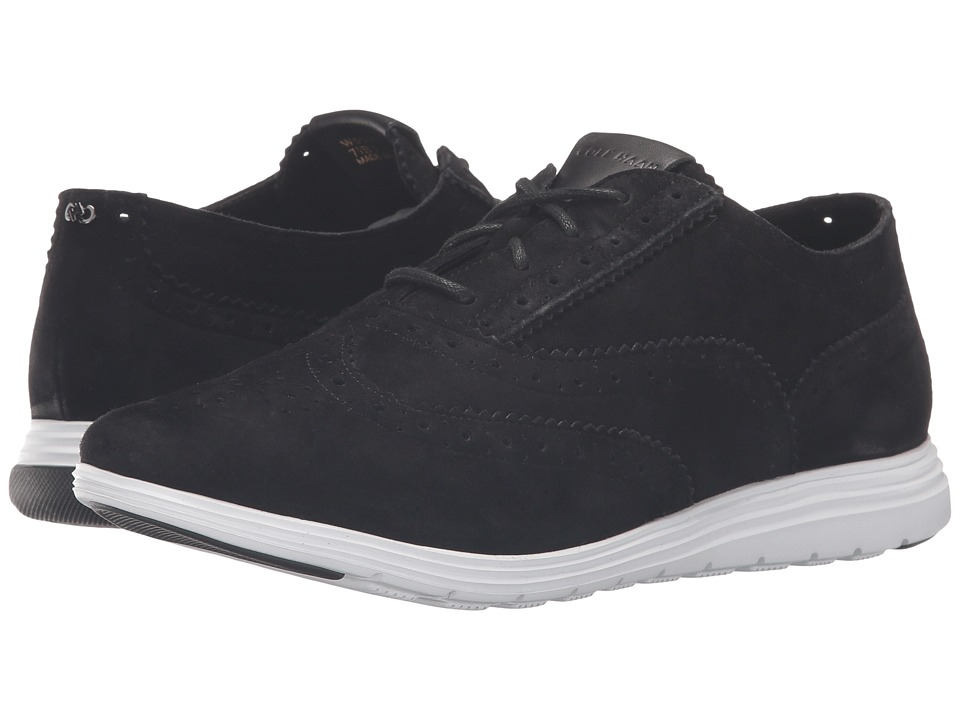 Cole Haan - Grand Tour Oxford (Black Suede/Optic White) Women's Lace up casual Shoes
