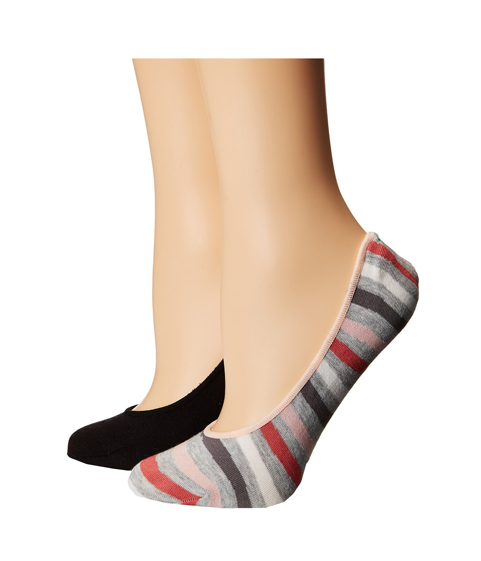 Cole Haan - 2-Pair Wave Stripe No Show (Oxford Heather/Black) Women's No Show Socks Shoes
