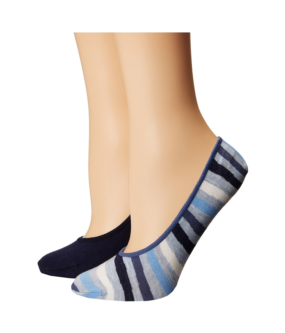 Cole Haan - 2-Pair Wave Stripe No Show (Light Denim Heather/Marine Blue) Women's No Show Socks Shoes
