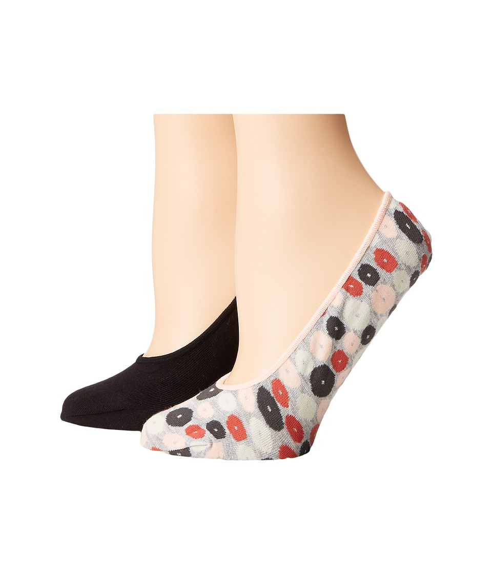 Cole Haan - 2-Pair Pebble Dot No Show (Oxford Heather/Black) Women's No Show Socks Shoes