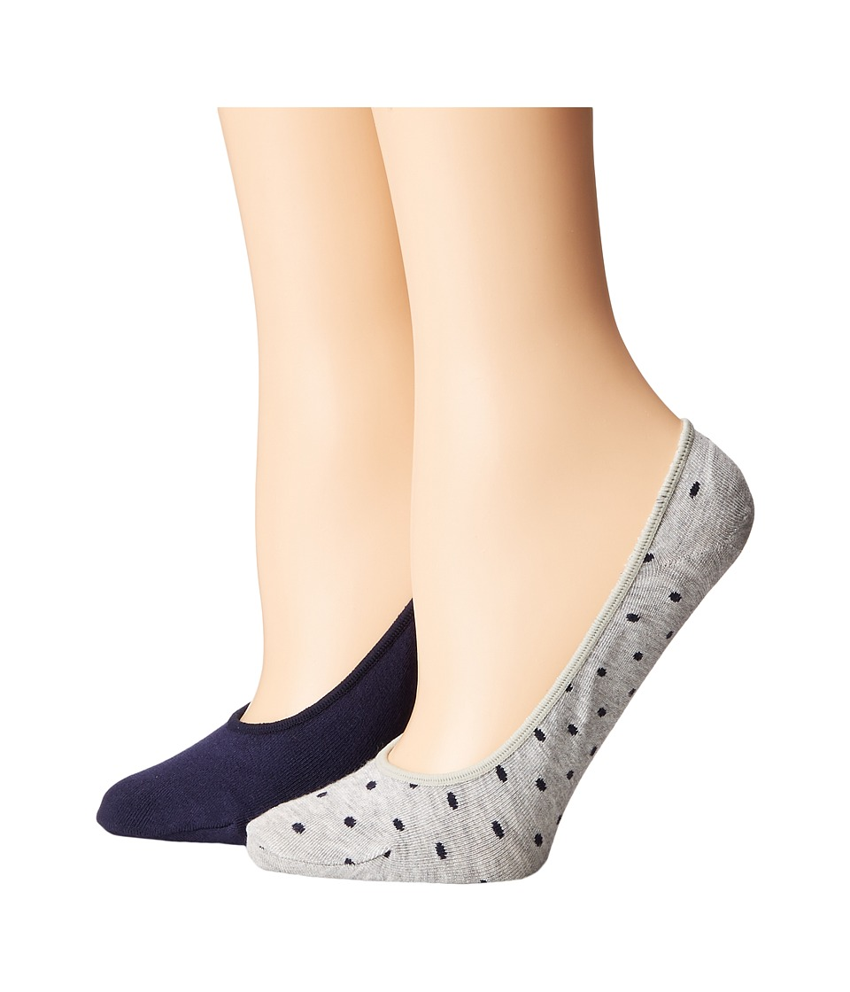 Cole Haan - 2-Pack Pin Dot Liner (Oxford Heather/Marine Blue) Women's Crew Cut Socks Shoes