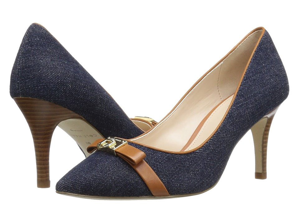 Cole Haan - Juliana Detail Pump 75mm (Denim/British Tan Leather) Women's Shoes