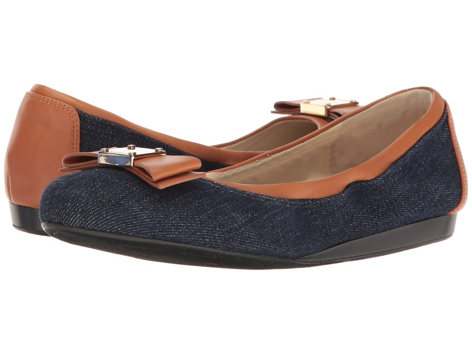 Cole Haan - Tali Bow Ballet (Denim/British Tan) Women's Slip on Shoes