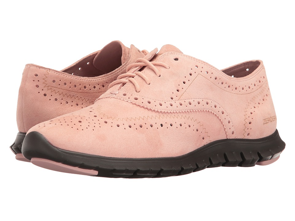 Cole Haan - Zerogrand Wing Oxford Open Hole (Silver/Pink Open Hole Suede/Pavement) Women's Lace up casual Shoes