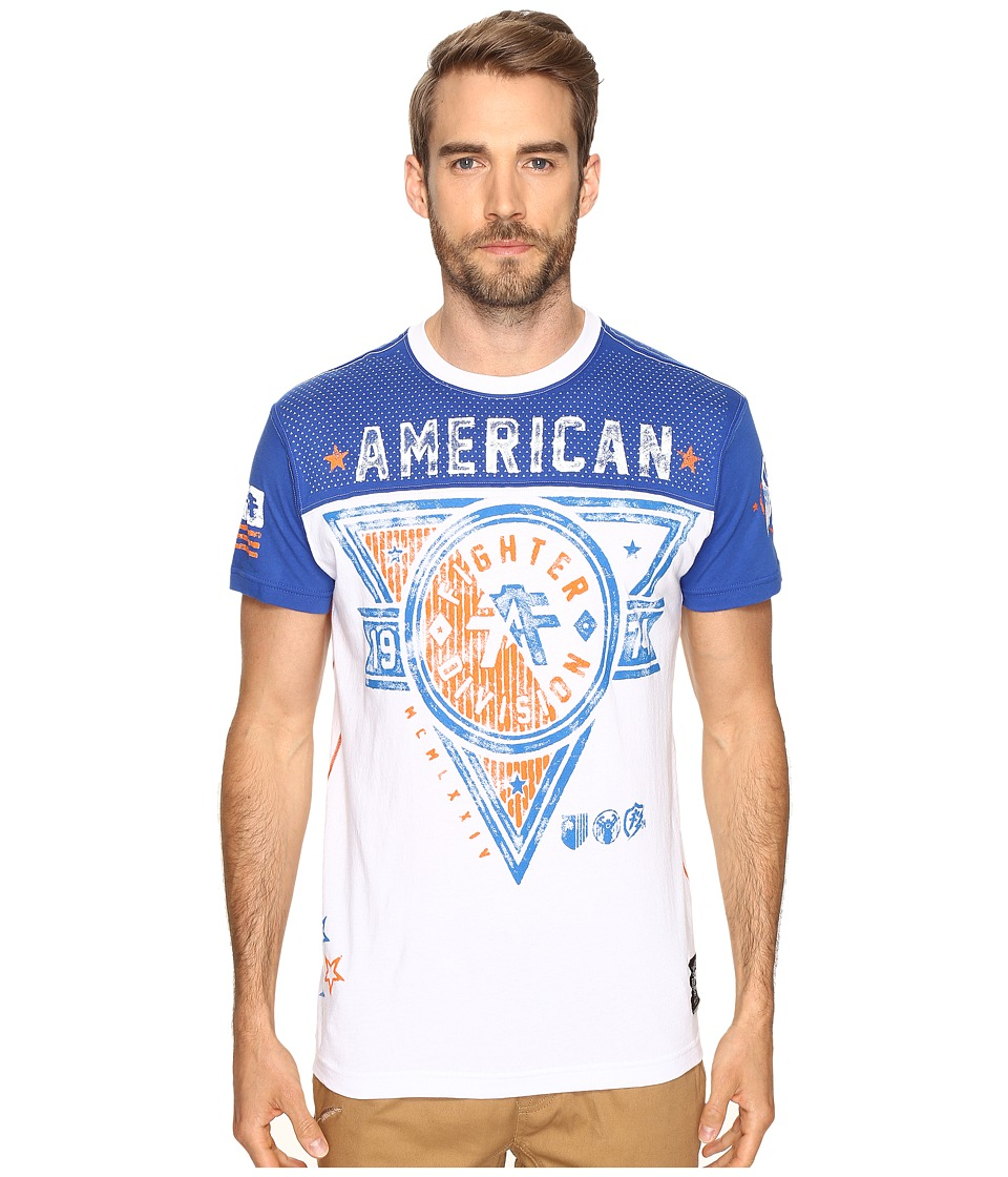 American Fighter - Siena Heights Artisan Short Sleeve Football Crew Tee (White/Cobalt) Men's Clothing
