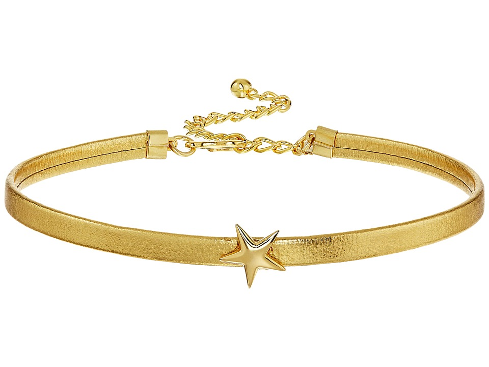 Kenneth Jay Lane - 12 Leather Dog Collar Necklace with Star Front and a 4 Extender (Gold) Necklace