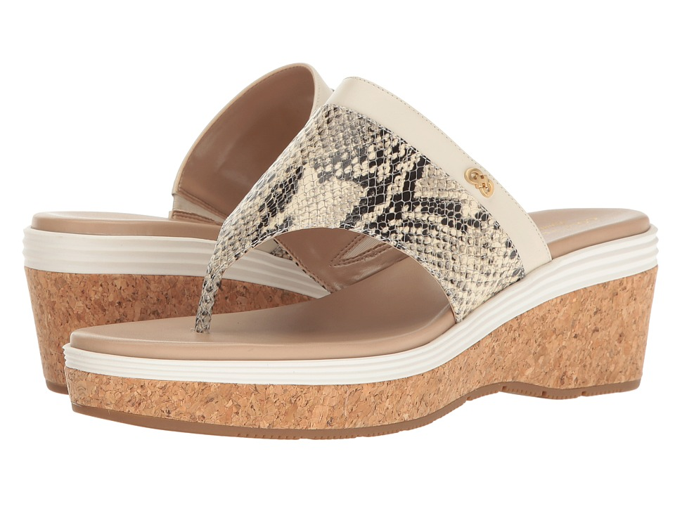 Cole Haan - Cecily Grand Thong (Roccia Snake Print/Ivory Leather/Maple Sugar/Ivory/Cork) Women's Shoes
