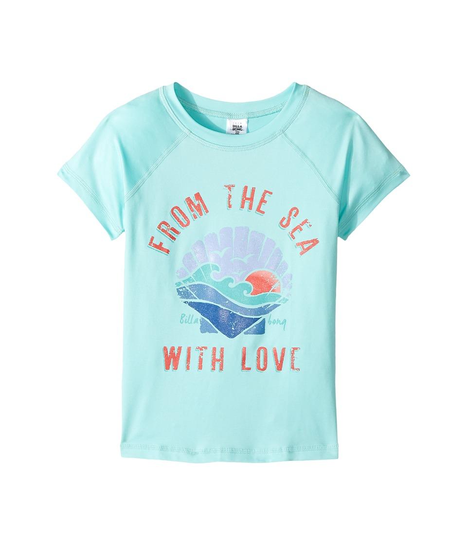 Billabong Kids Sol Searcher Short Sleeve Rashguard (Little Kids/Big Kids) (Beach Glass) Girl
