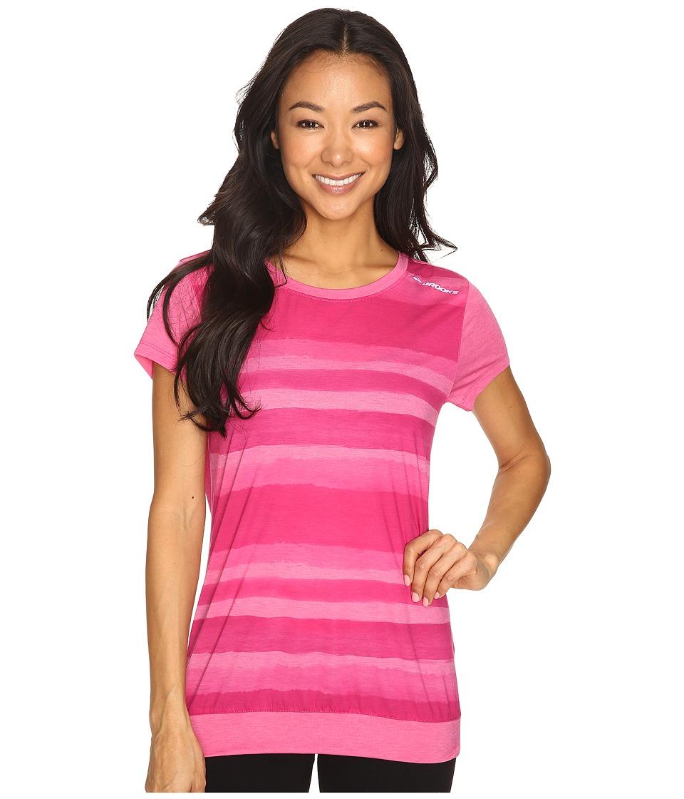 Brooks - Run-Thru Short Sleeve Top (Bloom Scape) Women's Short Sleeve Pullover