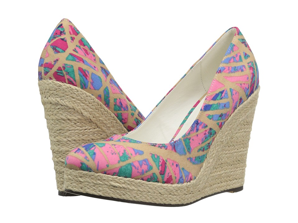Michael Antonio - Anabel - Print (Natural Multi Fabric) Women's Wedge Shoes