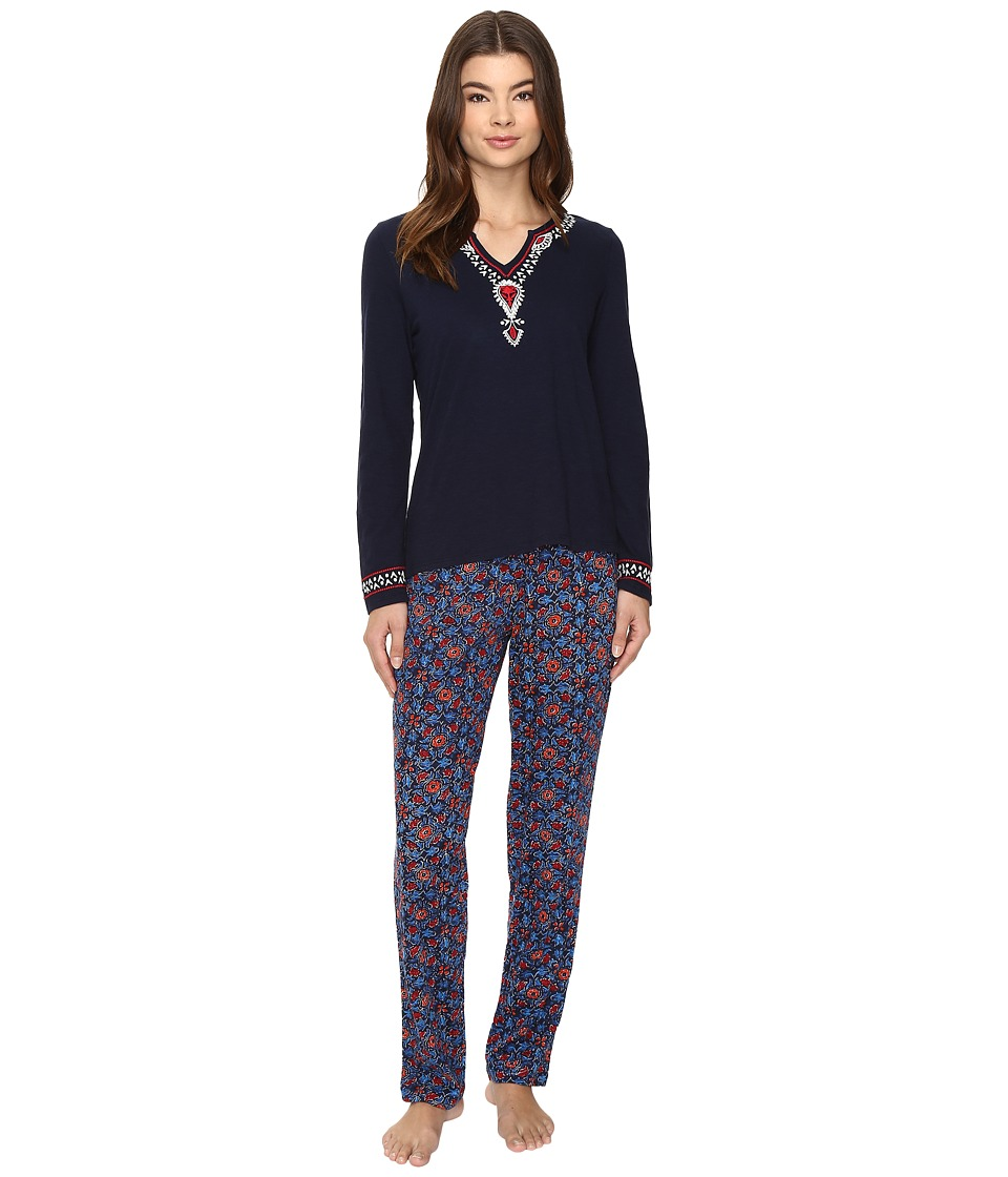 Lucky Brand - Embellished Knit PJ Set (Navy Blockprint) Women's Pajama Sets