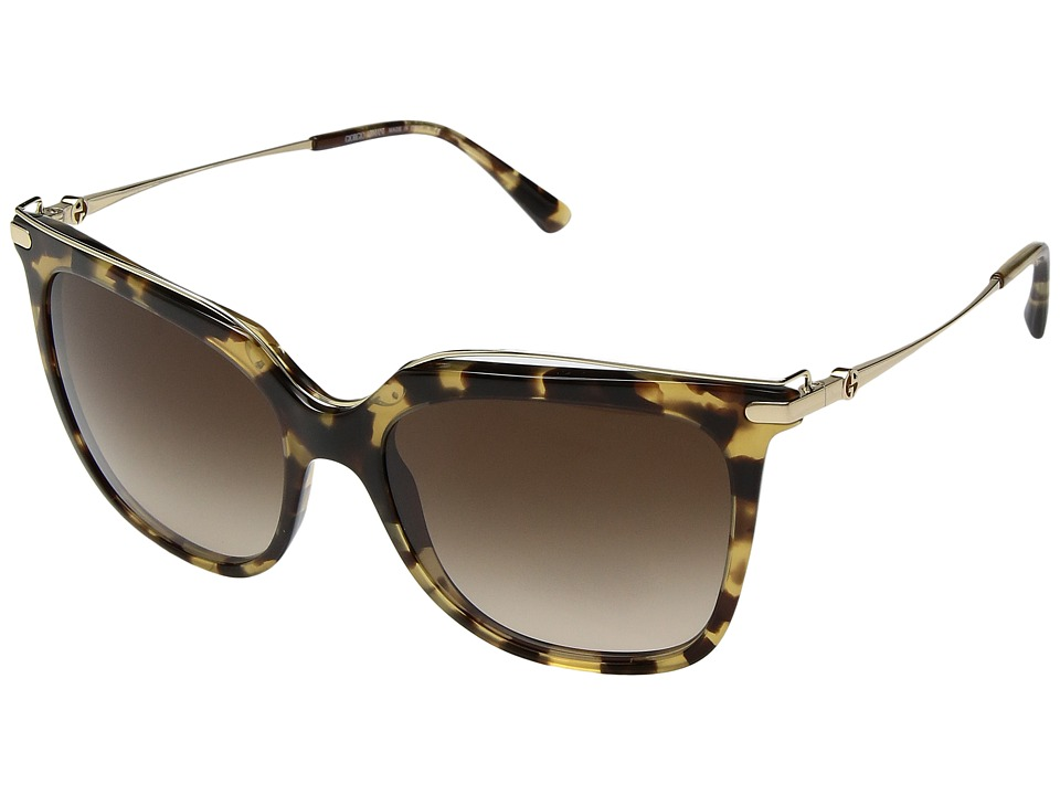 Giorgio Armani - 0AR8091 (Yellow Havana/Brown Gradient) Fashion Sunglasses