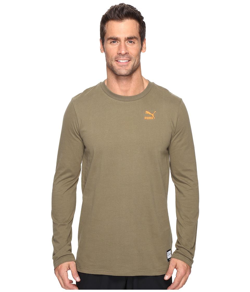 PUMA - Clyde Rolls Winter Long Sleeve Tee (Burnt Olive) Men's Long Sleeve Pullover