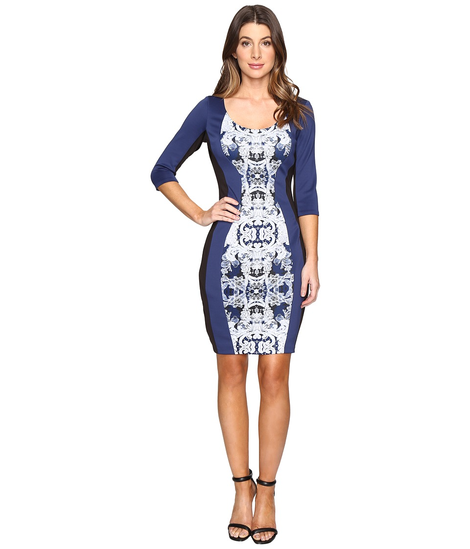 Sangria - Scuba Print Dress (Blue/Multi) Women's Dress