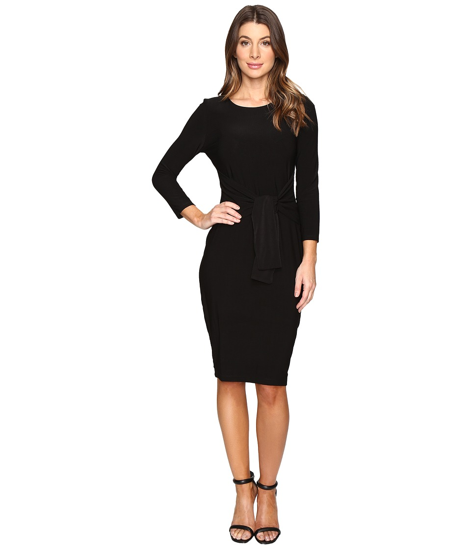 Sangria - Knit Tie Front Dress (Black) Women's Dress