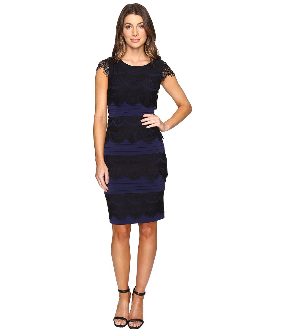 Sangria Lace Tiered Dress (Dusk/Black) Women