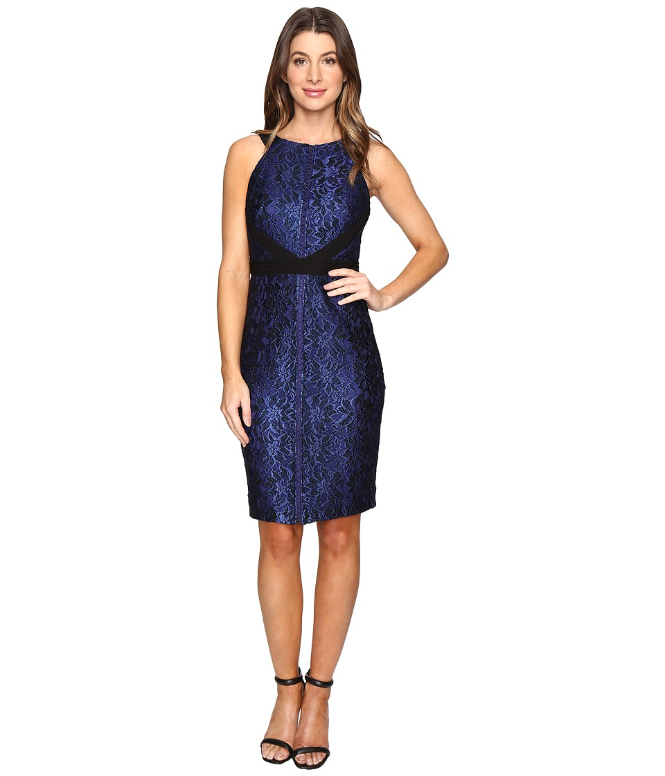 Sangria - Scuba Dress (Black/Cobalt) Women's Dress