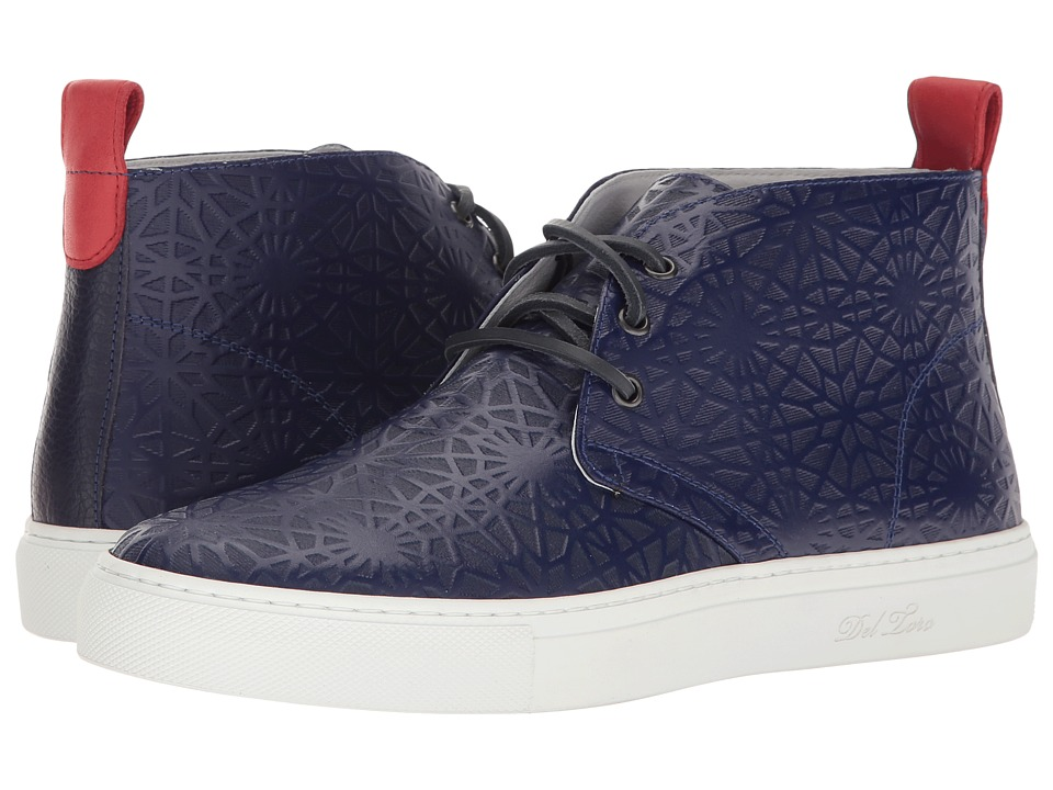 Del Toro - High Top Laser Cut Chukka Sneaker (Navy Geo) Men's Shoes