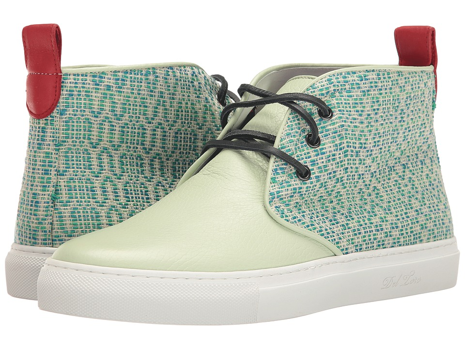 Del Toro - High Top Textile/Leather Chukka Sneaker (Mint Green/White) Men's Shoes