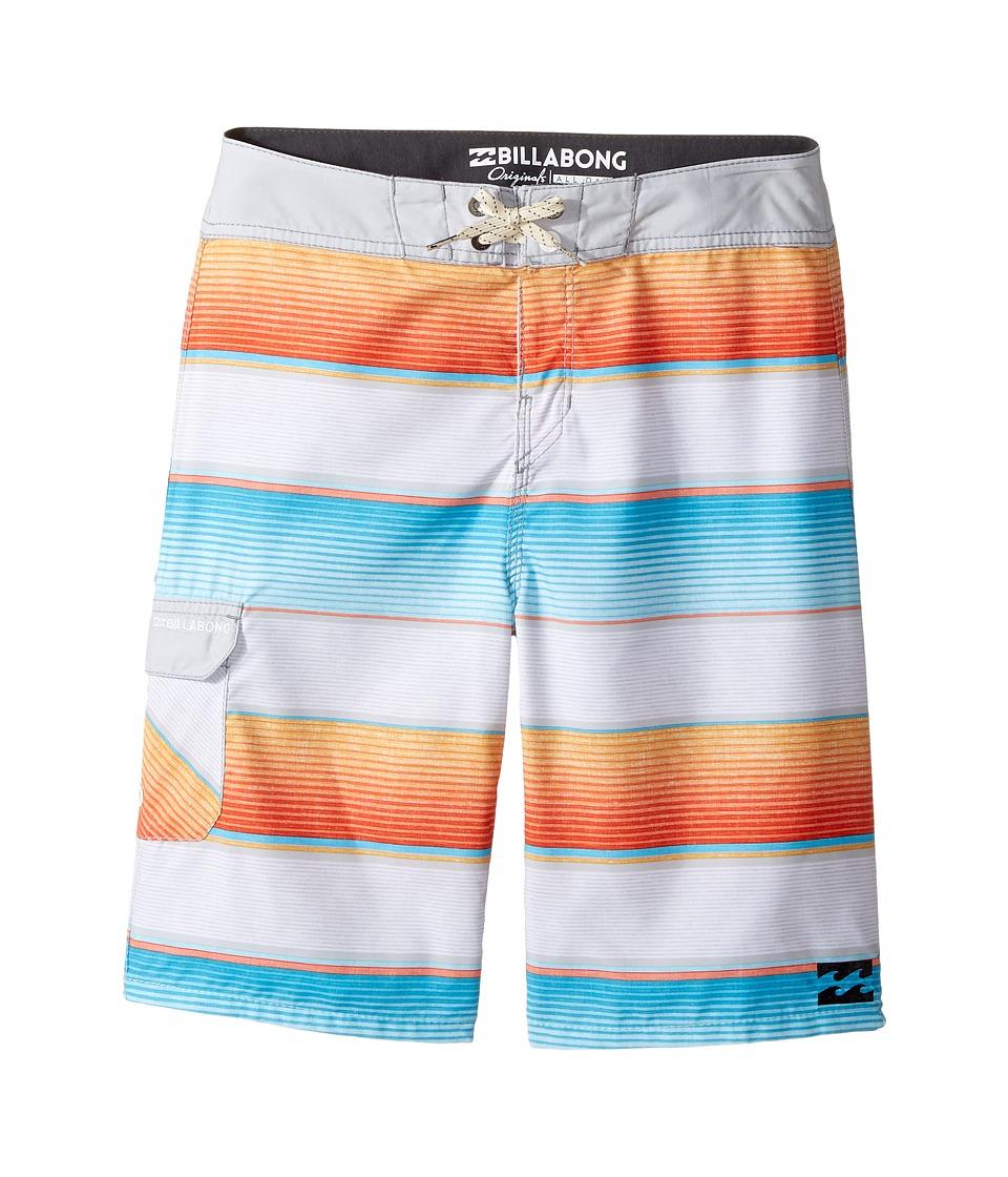 Billabong Kids All Day OG Stripe Boardshorts (Big Kids) (Steel) Boy