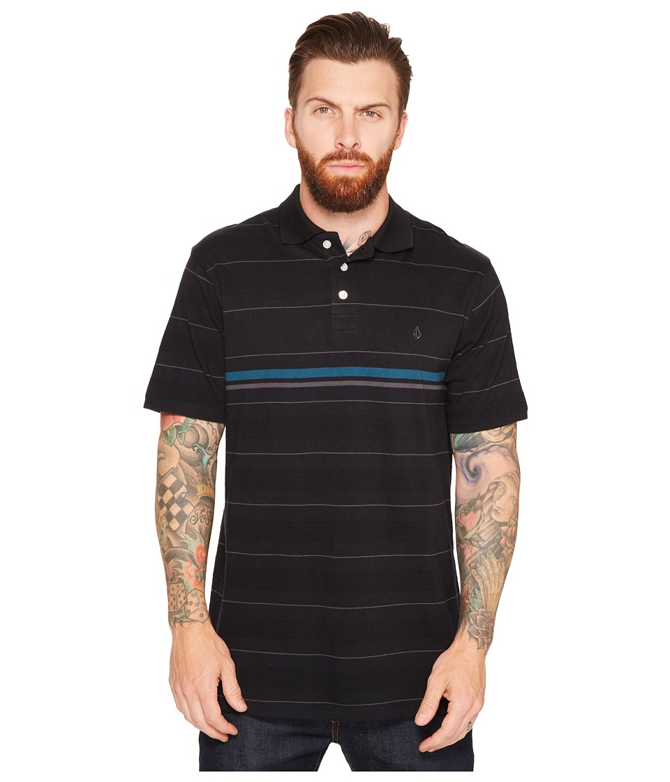 Volcom - Wowzer Stripe Polo (Black) Men's Clothing
